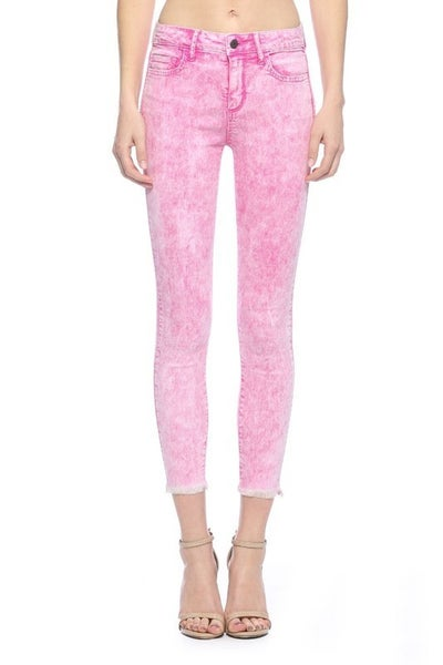 Cello Jean Mid Rise Neon Pink Mineral Crop Fray Hem Skinny
