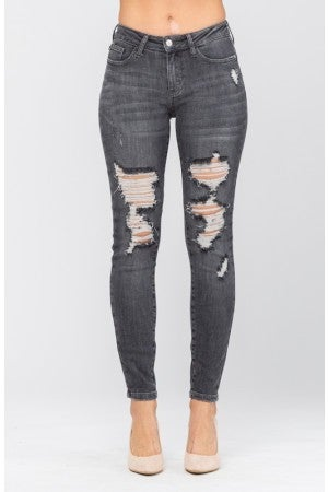 Judy Blue SMOKE SHOW 2.0 Grey Mid Rise Destroyed Skinny Jeans