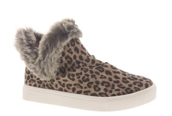 "Very G Leopard ""Plush"" Sneakers with Fur"
