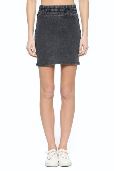 Cello High Rise Skirt With Elastic Shirred Waistband