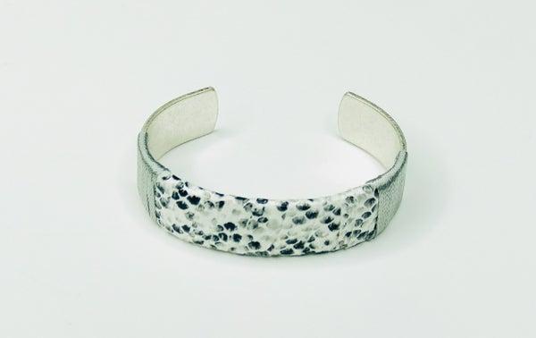 White Snakeskin Metal Cuff Bracelet