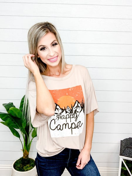 """Blue Buttercup Oversized """"Happy Camper"""" Printed Top"""