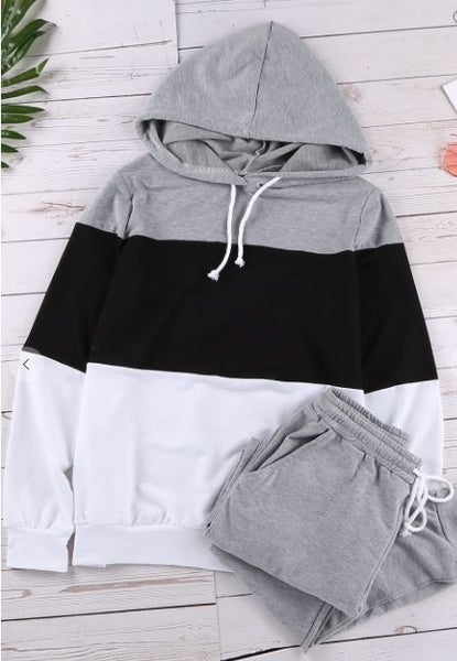 Shewin Color Block Hoodie with Jogger Pants Set