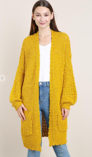Long Body Knitted Cardigan With Pockets