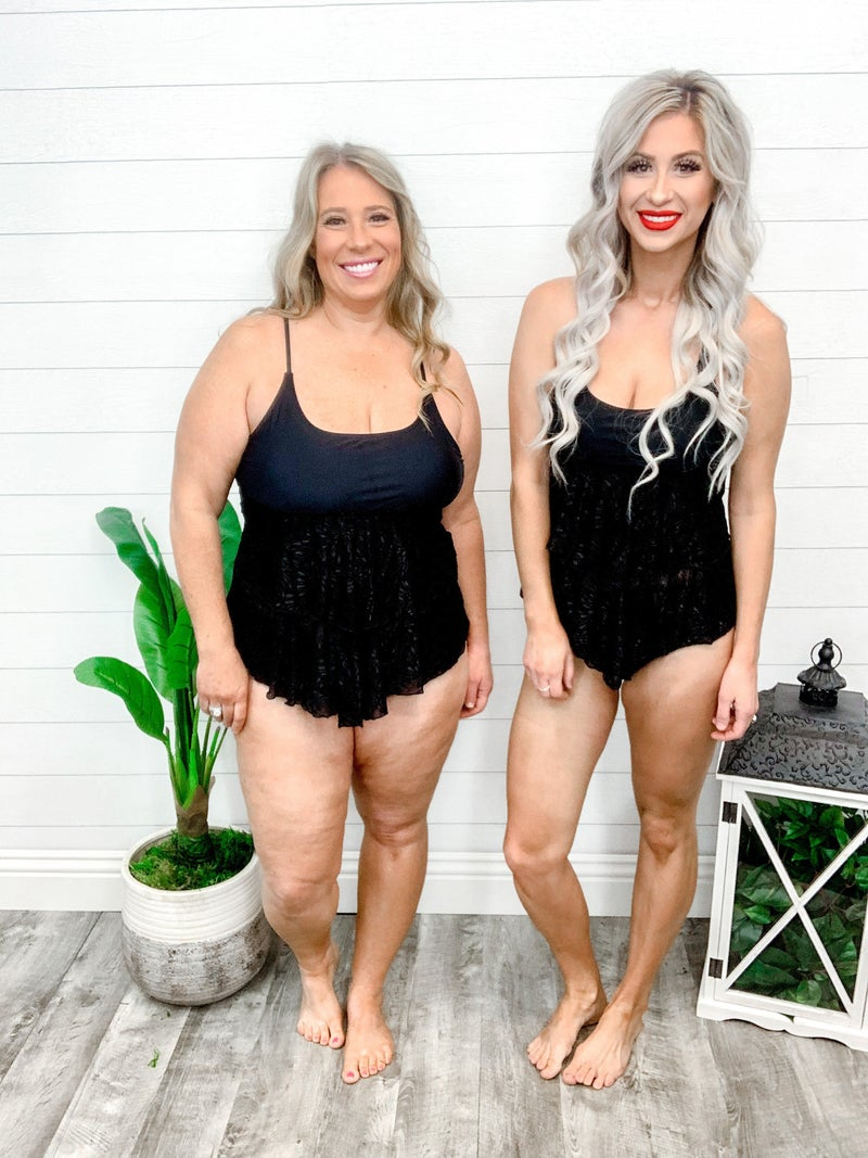 Shewin Black Ruffled Layered Lace Tankini Swimsuit