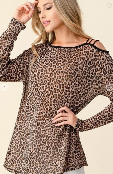 Blumin Leopard Print Long Sleeved Top with Strappy Shoulder Detail