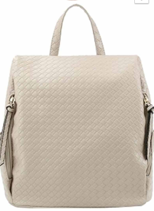 Woven Pattern Backpack with Side Pockets