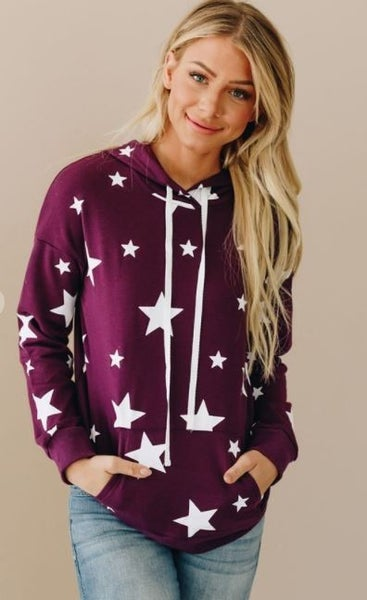 Shewin Star Patterned Pull Over Hoodie