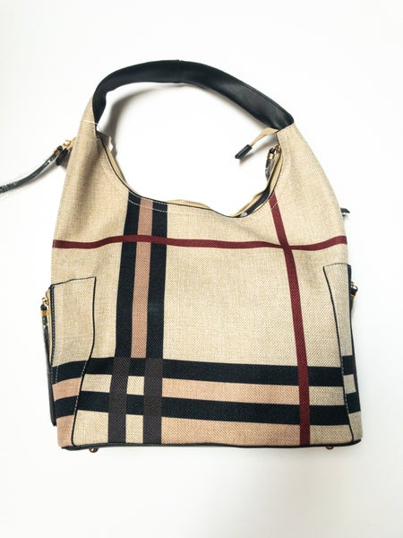 """""""Plaid"""" Rounded Strap Handbag with Two Side Zipper Pockets"""