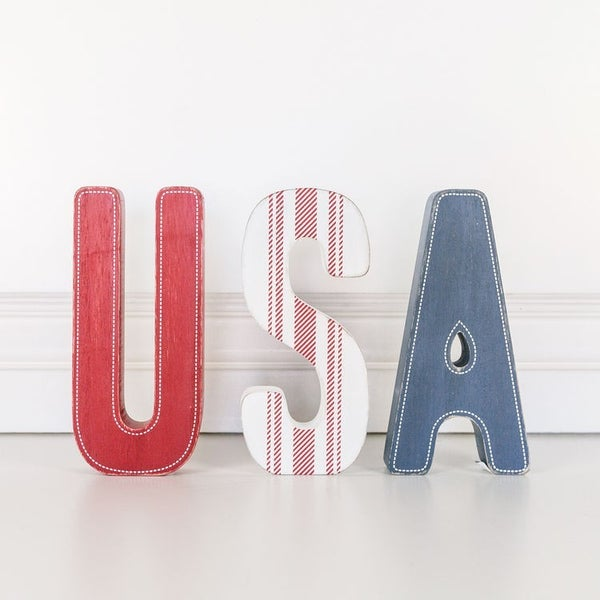 Wood Cutout Set USA Sign
