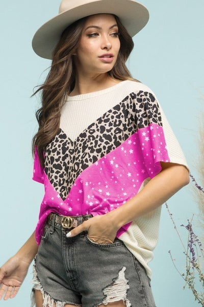 Blue Buttercup Leopard and star all over chevron color block top