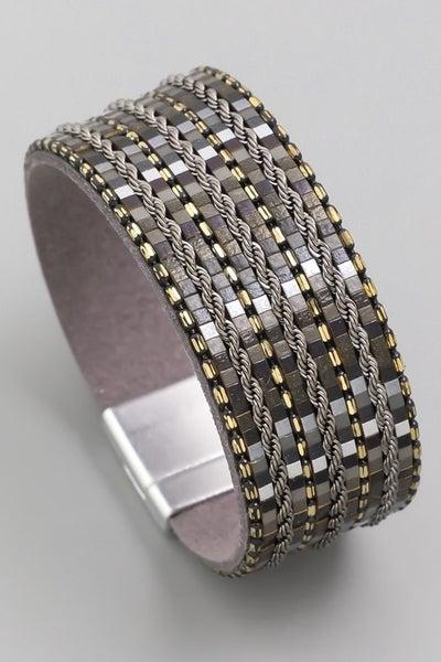 Faux Leather Magnetic Bracelet