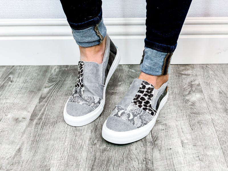 "Blowfish ""Maddox"" Multi Pattern Grey Slip-On Tennis Shoe"