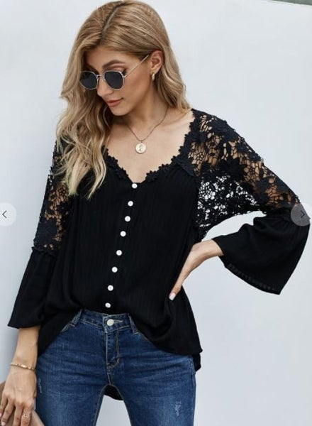Shewin Crochet Lace Button Up Top