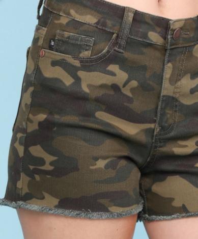 Judy  Blue Camo/Army Cut Off Shorts