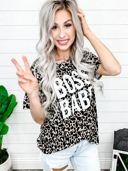 Blue Buttercup BOSS BABE printed leopard short sleeves TOP