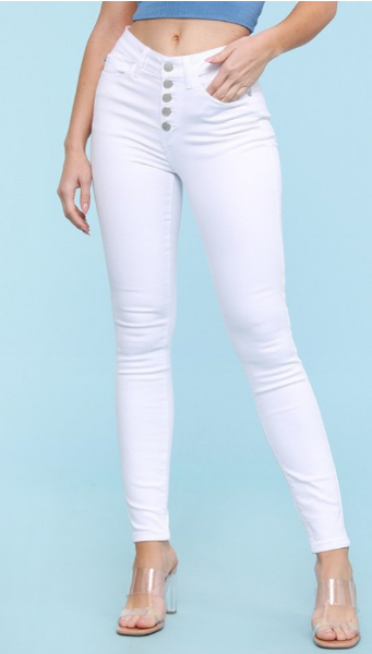 Judy Blue White Button Fly Skinny