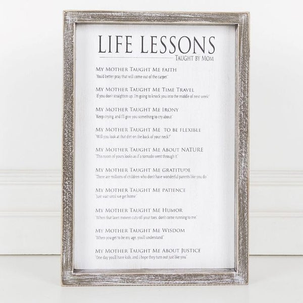 """Life Lessons"" Framed Sign"