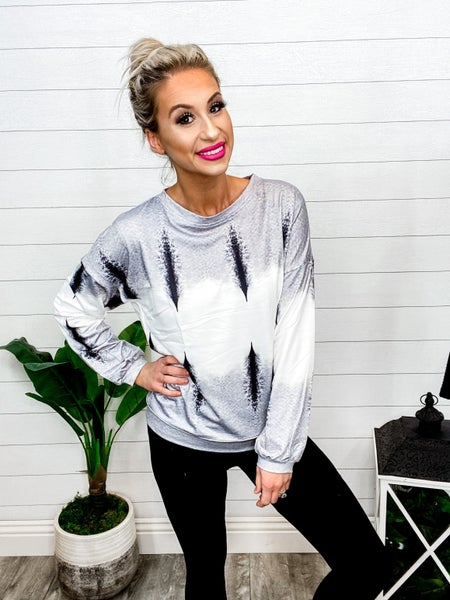 Shewin Round Neck Tie Dye Pull Over Sweater