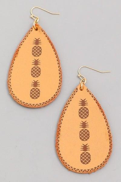 Faux Leather Pineapple Raindrop Earrings