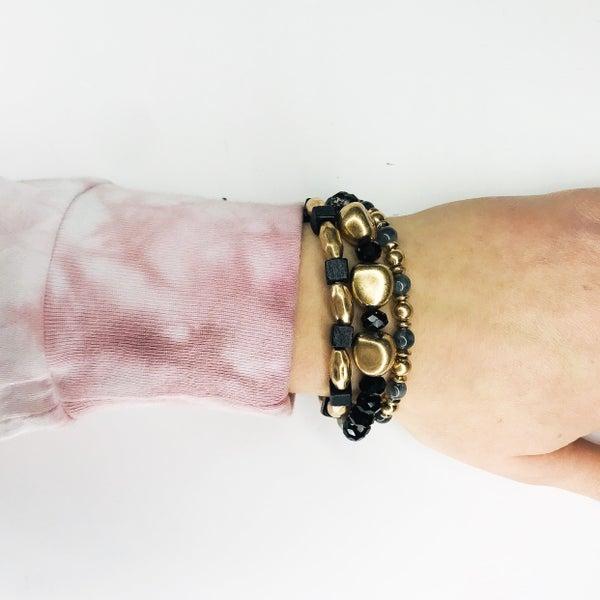 Stacked Black And Gold Bracelet