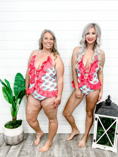 Shewin V Neck Lace-up Ruffled Trim Floral Maillot Suit