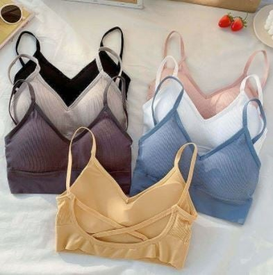 Ever B Solid Padded Bralette with Ribbed Detail