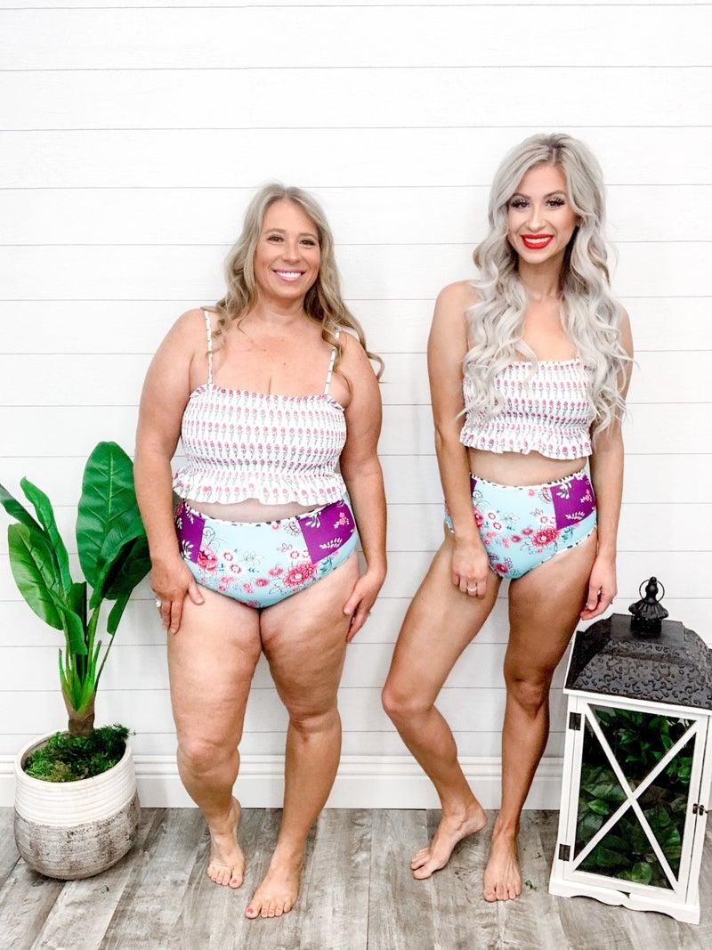 Shewin High Waist Rose Printed Smocked Bikini