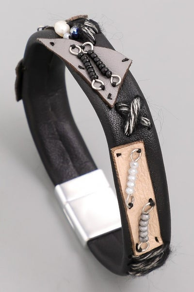 Thin Patchwork Magnetic Bracelet