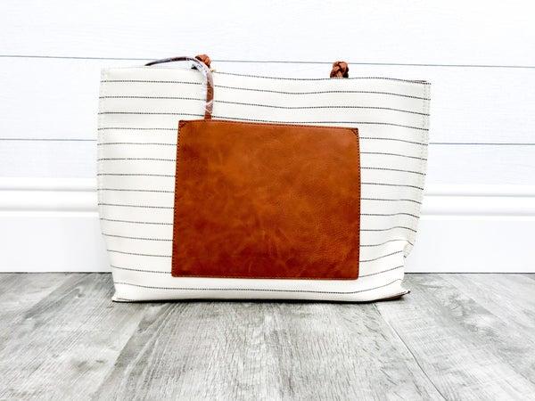 Single Stripe Braided Strap Handbag