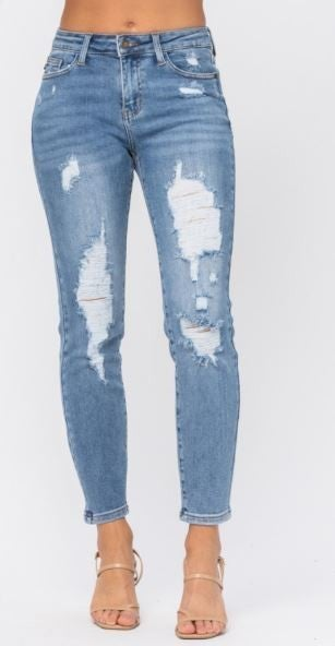 Judy Blue Destroyed Jeans with Relaxed Fit