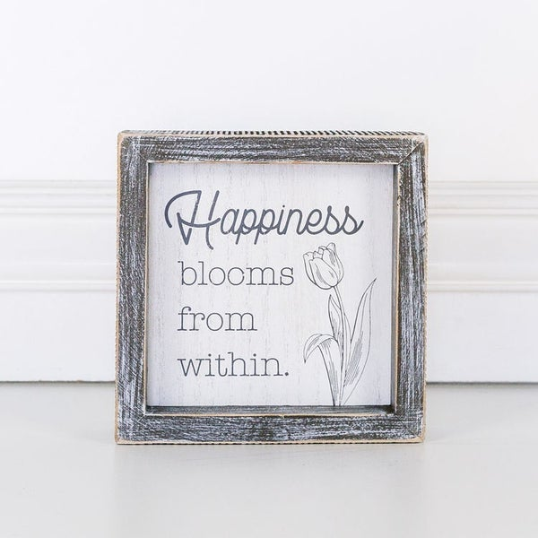 Happiness Blooms Wood Sign