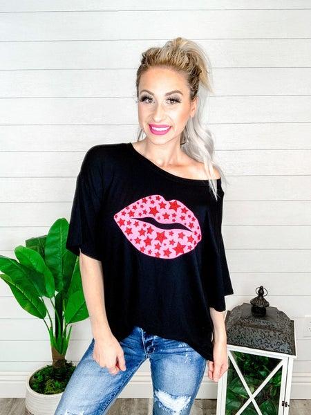 Blue Buttercup Pink Star Lips Short Sleeve Top