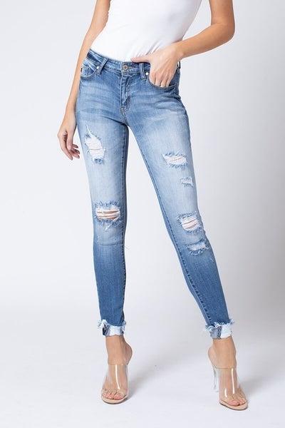 B.Mid Rise Skinny Jeans