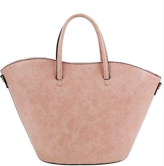 Wide Mouthed Lpip Shaped Bag with Button Detail