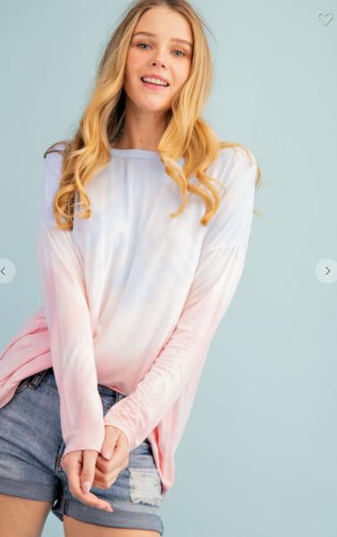 FSL Blue & Pink Tie-Dye Long Sleeve Tunic Top