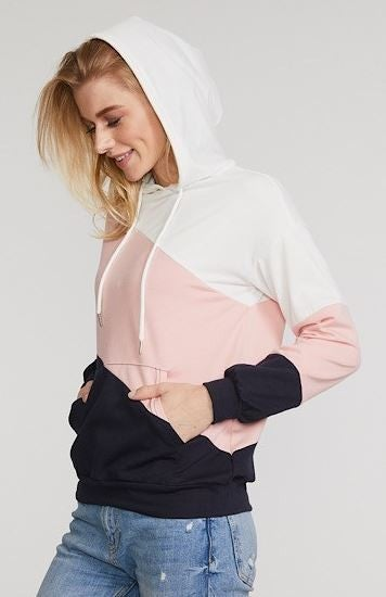 Shewin Color Block Angled Stripe Pull Over Hoodie