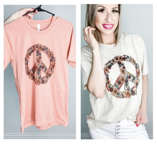 Floral Peace Sign Tee