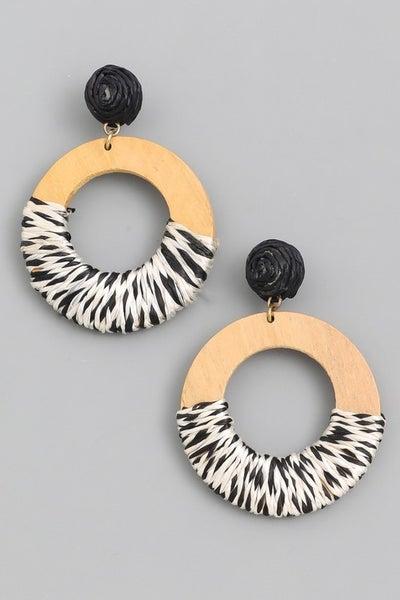 Wooden Circle Drop Earrings