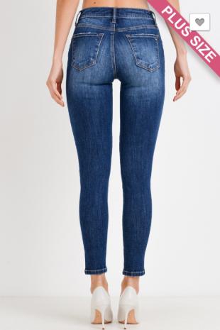 C'est Toi Button Down Dark Wash Basic Skinny Jeans