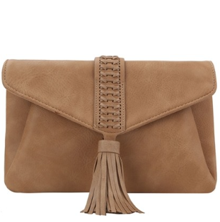 Woven and Tasseled Front Handbag