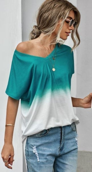 Shewin Ombre Color BLocked Tie Dye Short Sleeved Top