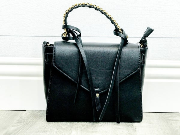 Black Flap Bag W/Gold Chain