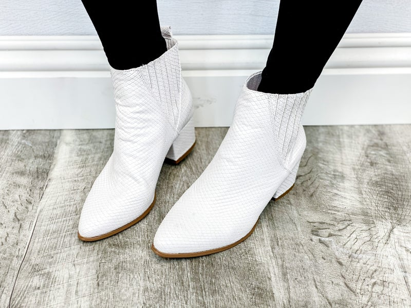 """Very G """"City"""" White Snake Heeled Boots"""