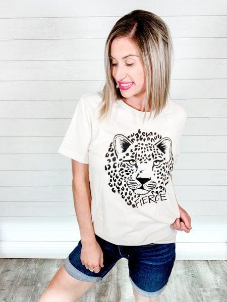 Fierce Leopard Print Graphic Tee
