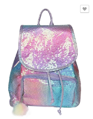 Sequin Backpack with Drawstring