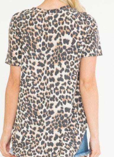 Star Keyhole Leopard Top