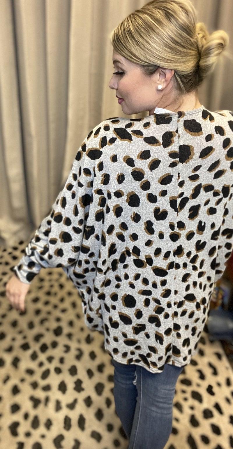 Animal Print Dolman Sleeve Cardigan
