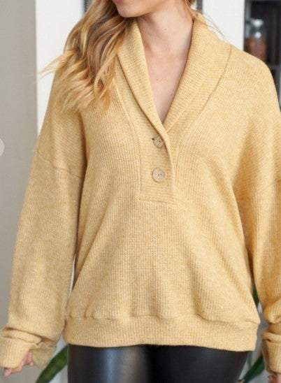 Waffle Knit Button Trim Top