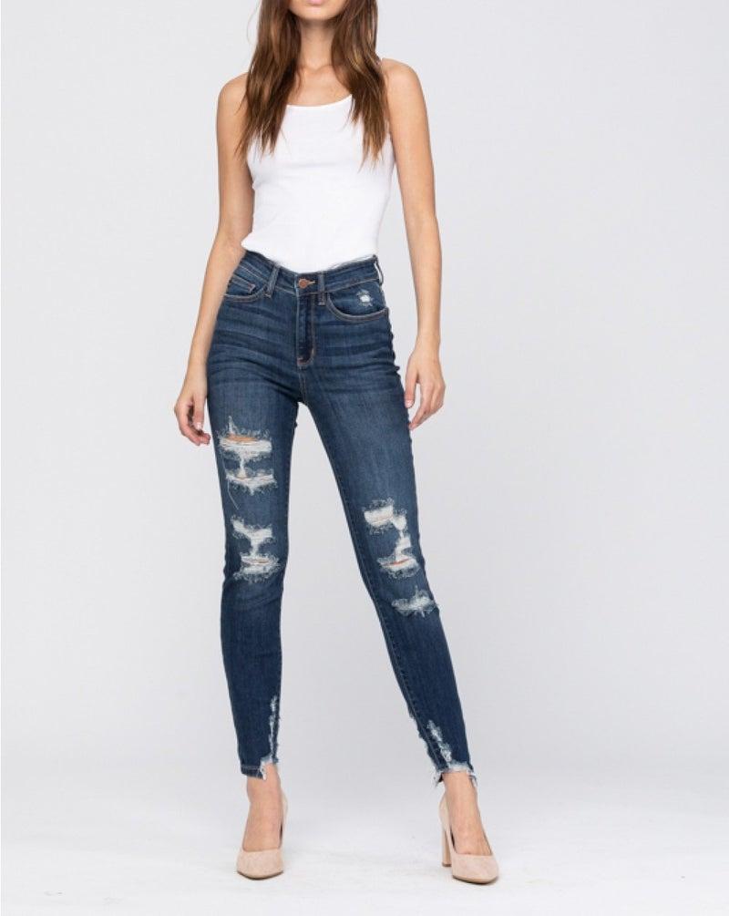 California Girl Judy Blue Shark Bite Cropped Jeans